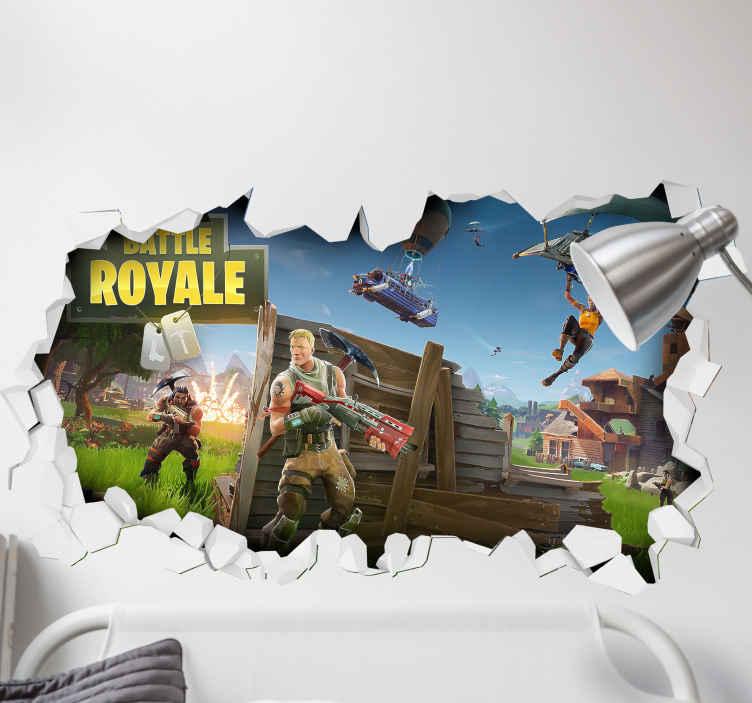 TenStickers. Sticker qui Trompe Oeil Bataille fortnite royal 3d. stickers d'effet visuel 3d de combat royal de combat décoratif présenté avec lui combattant des personnages réaliste. Il est facile à appliquer.