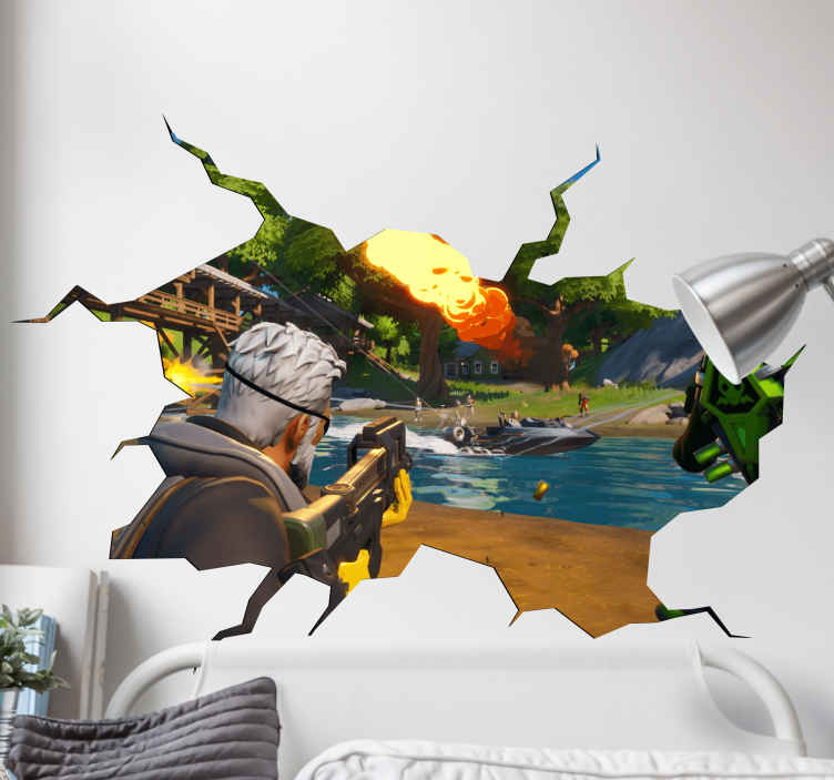 TenStickers. Fortnite combat 3d  visual effects wall decal. An original fornite combat visual effect decal. This design is a great idea to decorate any space. High quality product with self adhesive ability.