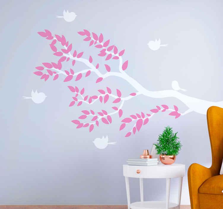 TENSTICKERS. ピンクの葉と木の壁のデカールを飛んでいる鳥の木. 装飾的なピンクと白のティーウォールアートステッカーデザインで、周りを白い鳥が飛んでいます。適用が簡単で高品質です。