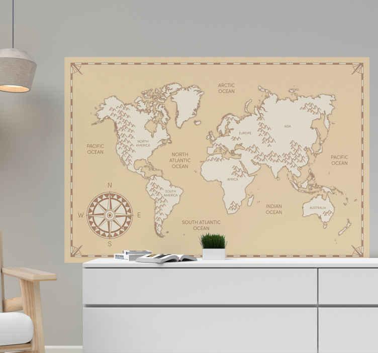 TENSTICKERS. 大陸の名前の世界地図ステッカー. ビンテージテクスチャと背景の場所の世界地図デカール。デザインには大陸マップの場所と名前が含まれています。簡単に貼れる接着剤です。