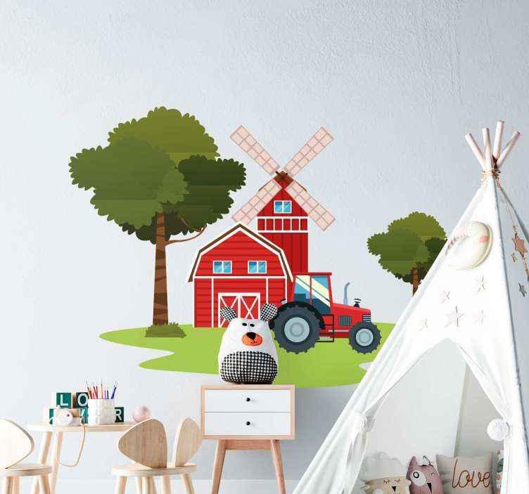 TENSTICKERS. トラクターや木々のイラスト壁アートデカール. 子供のための素敵なイラストウォールアートステッカーデザイン。デザインには、トラクターと木の家のイラストが含まれています。