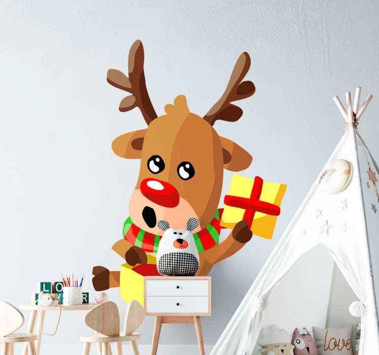 TENSTICKERS. かわいいトナカイクリスマスウォールステッカー. かわいいトナカイクリスマスお祝いステッカー。このデザインは、子供のスペースを明るくする、楽しくカラフルなクリスマスの装飾です。適用は簡単です。
