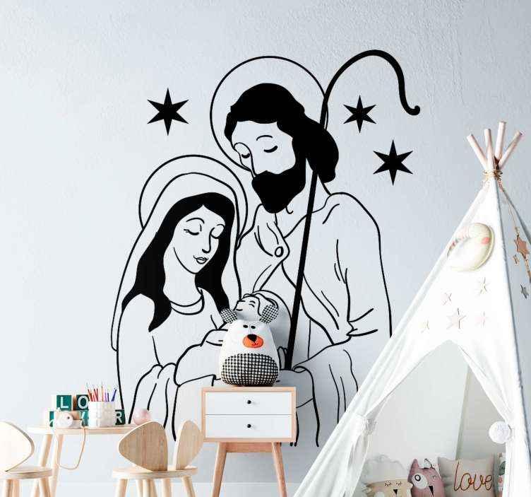 TenVinilo. Pegatina navidad nacimiento de Jesús. Vinilo de navidad con dibujo de de Jesús, María y José. Un diseño navideño que representa el nacimiento del bebé ¡Envío a domicilio!