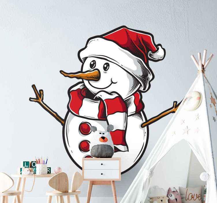 TENSTICKERS. 幸せな雪だるまクリスマス壁デカール. 装飾的な幸せそうな雪だるまクリスマスステッカー。それは高品質のビニールで作られ、本当に簡単に適用できます。必要なサイズでご利用いただけます。