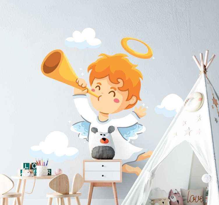 TenVinilo. Pegatina navidad ángel tocando la trompeta. Pegatina navideña de angelito que representa el anuncio de la natividad del nacimiento de Jesús. Elige medidas ¡Envío a domicilio!