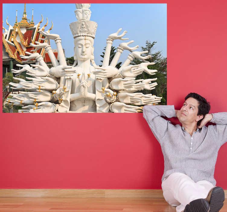 TenStickers. Buddha nálepka na nástěnné fotografické nálepky. Tato nástěnná nálepka buddha bude poskytovat příjemnou a pozitivní atmosféru v preferované místnosti vašeho domova, neboť je to doslova stěnové umění.