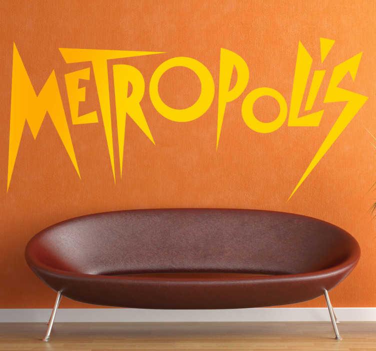 TenStickers. Sticker logo film Metropolis. Deze sticker omtrent het logo van de Duitse sciencefiction film Metropolis met regisseur Fritz Lang. Ideaal voor fans van de bioscoop.