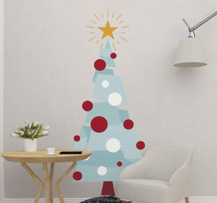 TENSTICKERS. 幾何学図形のクリスマスツリーウォールステッカー付きツリー. 幾何学的な特徴を持つ特別な装飾クリスマスツリーステッカーデザイン。木のデザインは、カラフルな外観の幾何学的な特徴で組み立てられています。