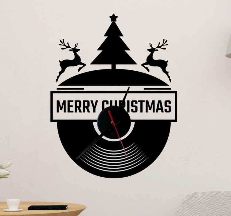 TENSTICKERS. クロックlpレコードステッカークロック. 家および他のスペースのための装飾的なクリスマスの壁の芸術のステッカーの装飾。刻々と変化する角度位置にトナカイとツリーを配置した時計のデザイン。