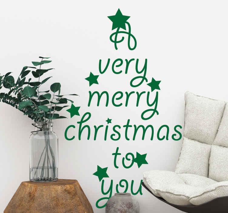 TENSTICKERS. メリークリスマスツリークリスマス壁デカール. この素敵な装飾的なクリスマスツリーのステッカーデザインとテキストで、愛する人、家族、ゲストにメリークリスマスを伝えましょう。
