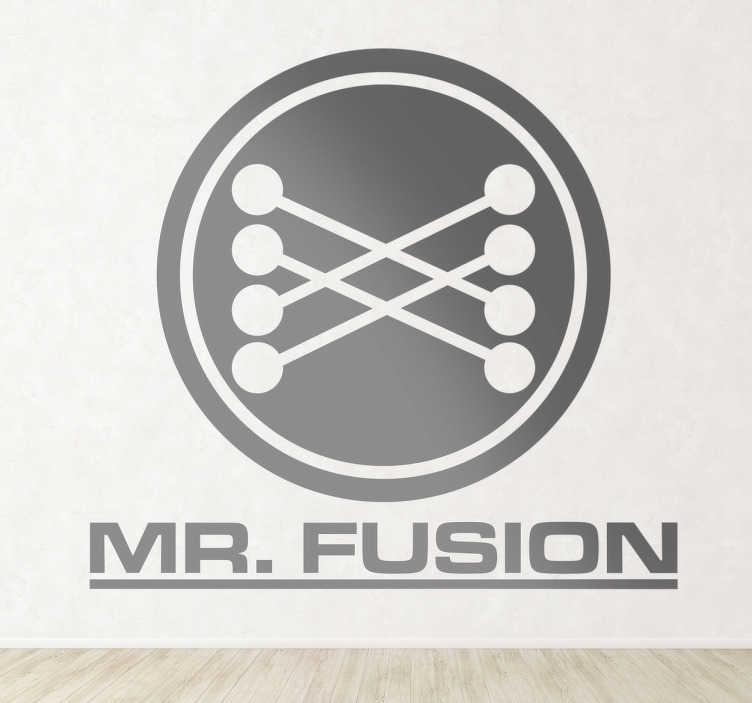 TenVinilo. Vinilo decorativo logo Mr Fusion. Los más fanáticos de la trilogía de las aventuras de Marti McFly en Regreso al Futuro reconocerán este adhesivo. ¡Todo vuestro!
