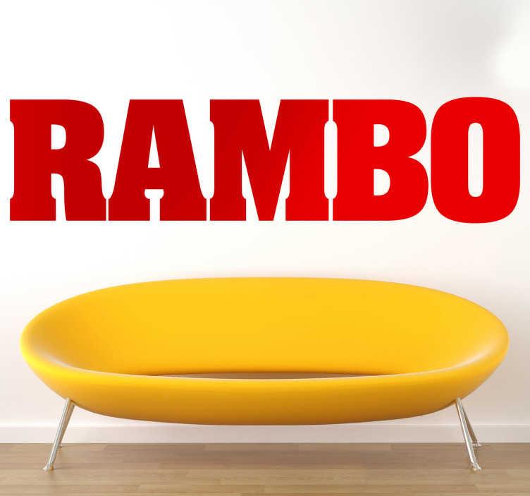 TenVinilo. Vinilo decorativo logo Rambo. Adhesivo con la tipografía oficial de la saga de películas bélicas protagonizada por Sylvester Stallone.