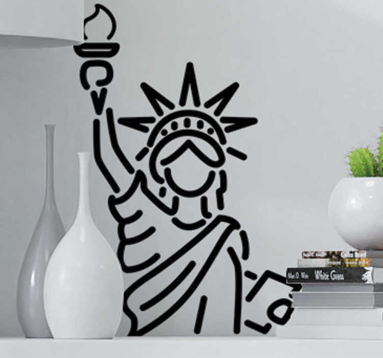TenStickers. Autocolante decorativo Estátua da Liberdade. Decore as suas paredes com este autocolante decorativo que mostra um dos monumentos mais famosos do mundo, a estátua da Liberdade.