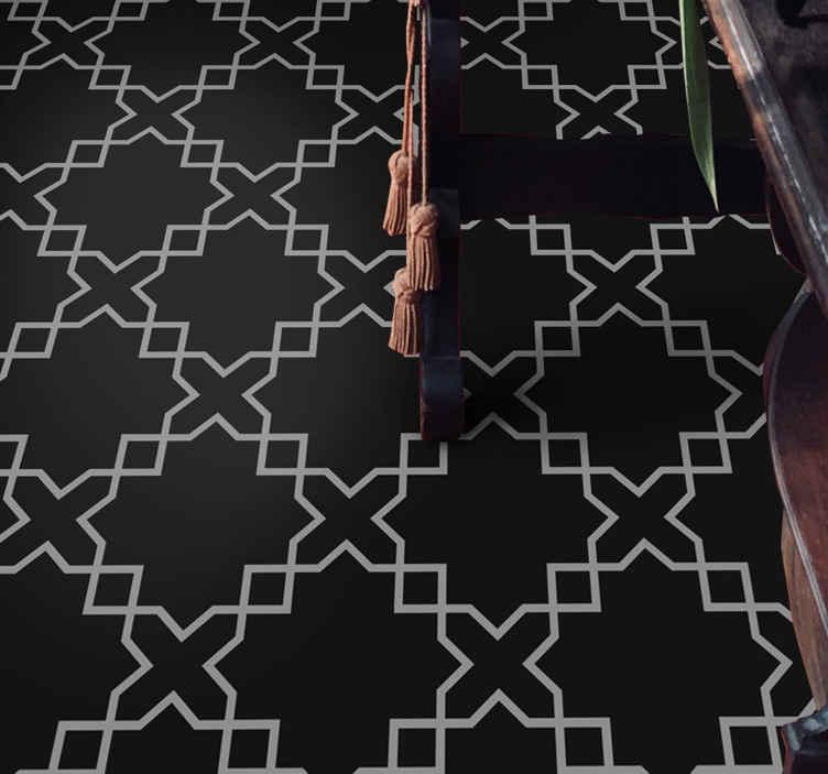 TenVinilo. Vinilo suelo blanco y negro estilo marroquí. Mímate a ti mismo y a tu piso con algo agradable con este vinilo suelo de estilo marroquí ¡Transforma tus suelos con solo un clic!