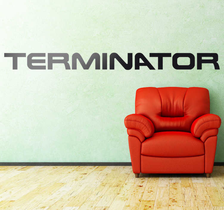 TenVinilo. Vinilo decorativo logo Terminator. Arnold Schwarzenegger marcó a toda una época haciendo de robot del futuro enviado para acabar con Sarah Connor y la resistencia. Un vinilo para los fans de la saga