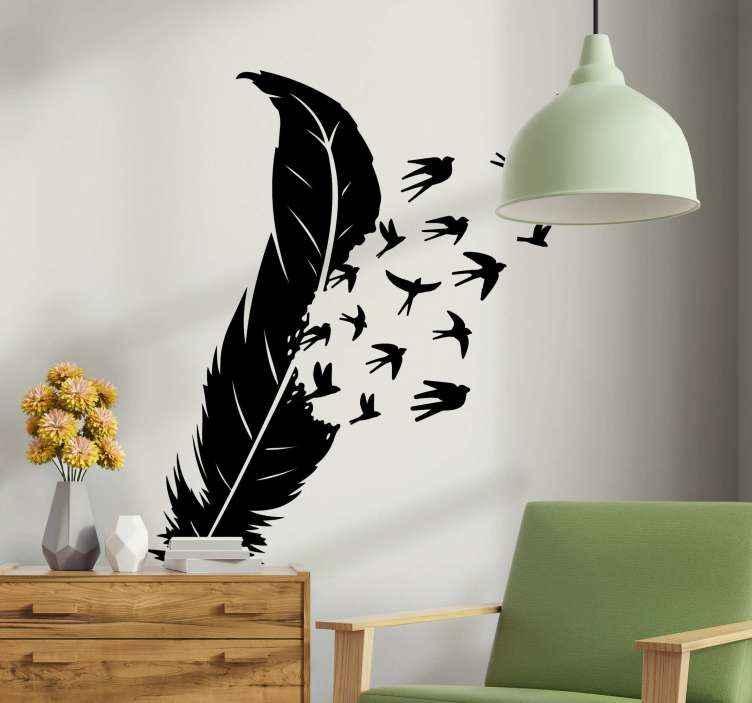 TenVinilo. Vinilo de pájaros saliendo volando de pluma. Vinilo de pájaros voladores fácil de aplicar y fabricado en material de alta calidad ¡A todos los soñadores les encantará esta decoración!