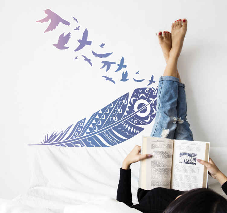 TenStickers. Feather with birds bird sticker. Feather wall sticker with birds, perfect decoration for your bedroom. Easy to apply, made of high quality vinyl. Check it out!