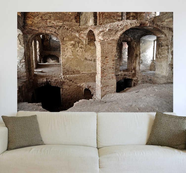 TenStickers. Mural de parede ruinas. Imagina teres no teu quarto ou sala de estar uma vista para essas ruínas antigas romanas até dá a sensação que toda parede faz parte desta paisagem.