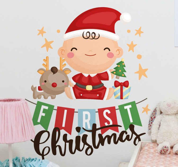 TENSTICKERS. 私の最初のクリスマスステッカークリスマスウォールステッカー. かわいい小さなサンタのウォールステッカーはあなたの子供のための完璧な装飾です。それはクリスマスの精神を思い出させます。適用が簡単です。