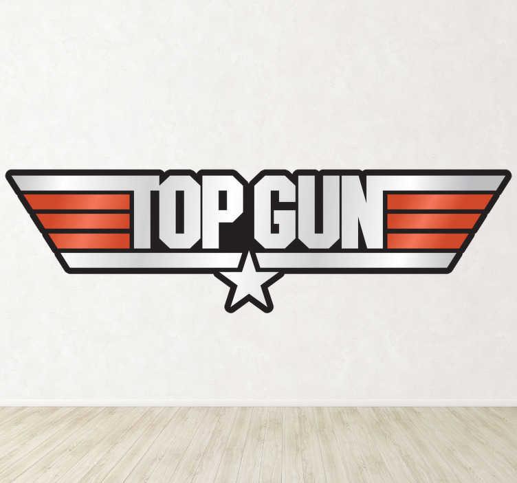 """TenStickers. Sticker film logo Top Gun kleur. Een leuke muursticker met het logo van de klassieke film """" Top Gun """", met Tom Cruise in de hoofdrol."""