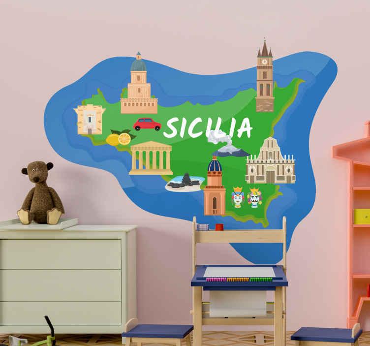 TENSTICKERS. シチリアの美しいアイコン都市ステッカー. シチリアの美しい島ロケーションマップステッカー。マップ描画のウォールアートデカールは、家やその他の機能と共に紹介されています。