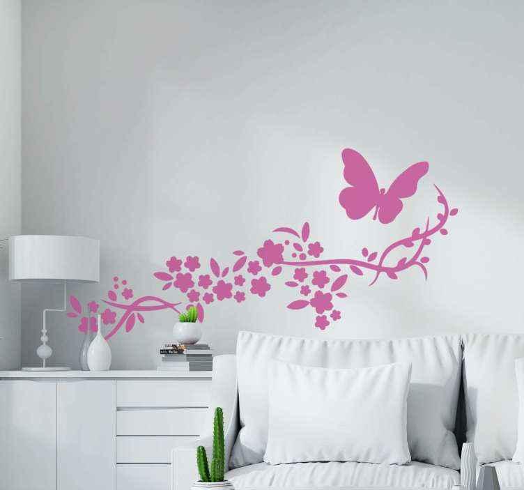 Wandtattoo Blume Schmetterling Und Blume Tenstickers