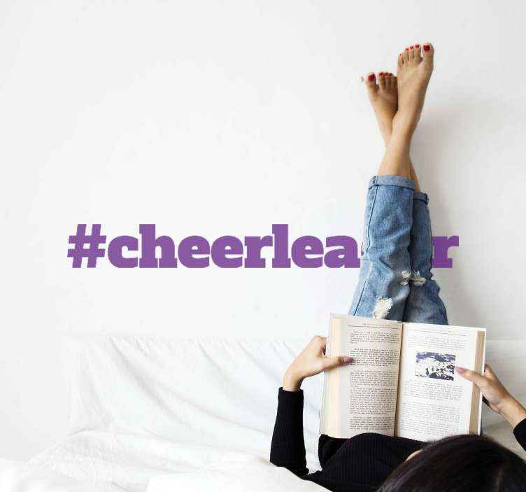 TENSTICKERS. #cheerleader壁の装飾. テキスト#cheerleaderが付いている素晴らしいテキストステッカー。割引あり。高品質のビニール素材を使用。カスタムメイド。