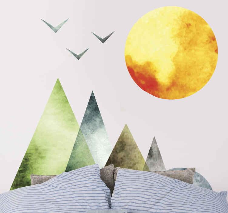 TenVinilo. Vinilo para cabeceros montaña geométricas nórdicas. Traiga la paz alta de la montaña a su casa con este vinilo para cabezal dormitorio con patrón geométrico con sol y pájaros ¡Envío a domicilio!