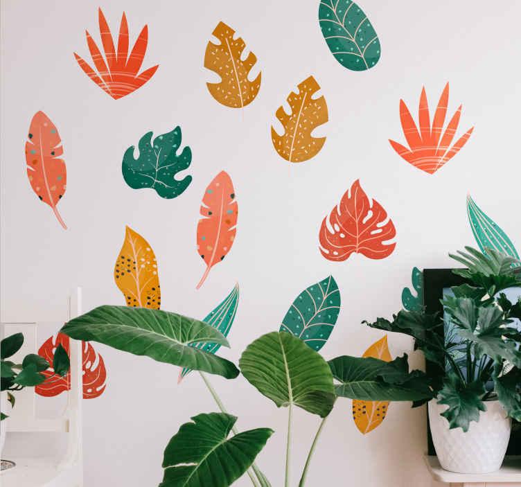 TENSTICKERS. 18のユニークな葉植物の壁の装飾. カラフルな葉の植物の壁のステッカーは、装飾として任意の平らな面に貼り付けます。製品は最高品質のビニールと接着剤で作られています。