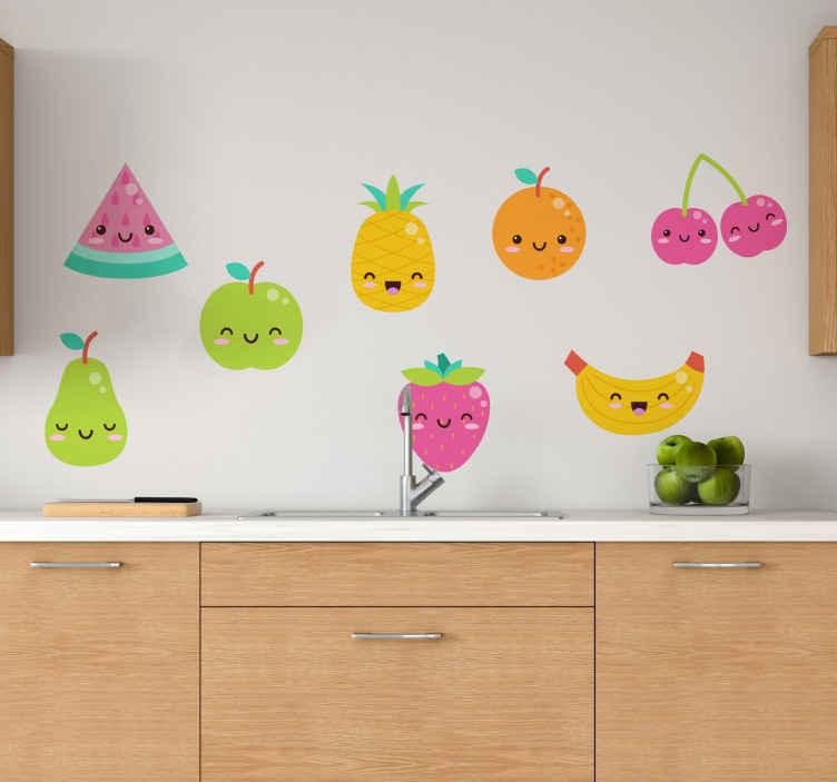 TENSTICKERS. 8つのかわいいフルーツパックフルーツウォールステッカー. 面白い象徴的な絵文字顔でさまざまな果物の8パックを含む面白いキッチンウォールアートステッカー。さまざまなサイズと接着剤が用意されています。