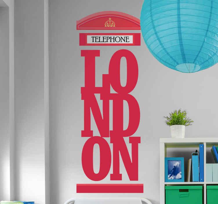 """TenVinilo. Vinilo de Londres cabina roja frase London. Vinilo de Londres con letras emblemáticas de """"London"""" formando una cabina telefónica perfecto para los amantes de la ciudad"""