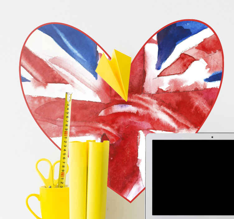 TENSTICKERS. イギリスの旗ハートフラグデカール. 場所のシンボルを表すためにスペースを飾るためのイギリスの旗のハートフラグステッカー。それはオリジナルであり、本当に簡単に適用できます。