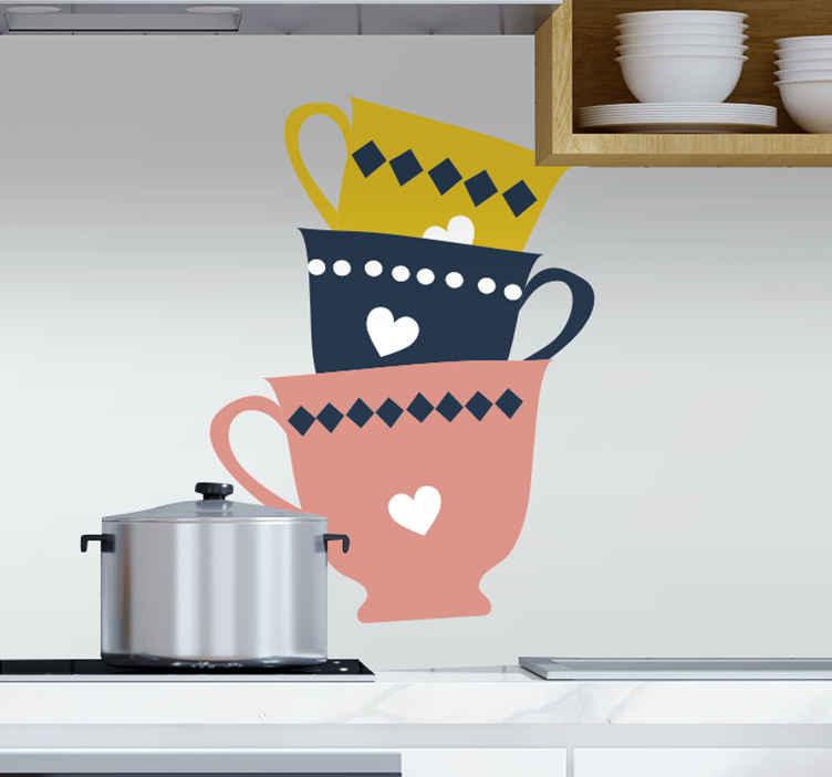 TENSTICKERS. 3段積みティーカップドリンクウォールステッカー. 積み重ねられた3つのティーカップは、黄色、黒、ヌード色のデカールを飲みます。キッチンやダイニングスペースに最適です。適用が簡単で高品質。