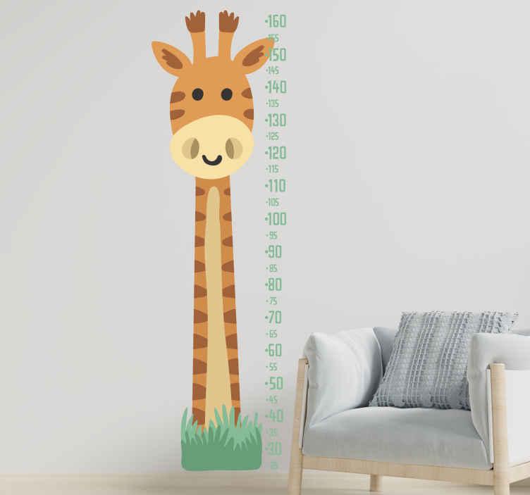 TENSTICKERS. キリンと成長メーターの高さチャートデカール. 子供の寝室のスペースを飾るためのキリンメーター高さチャート壁デカール。製品はオリジナルで耐久性に優れています。