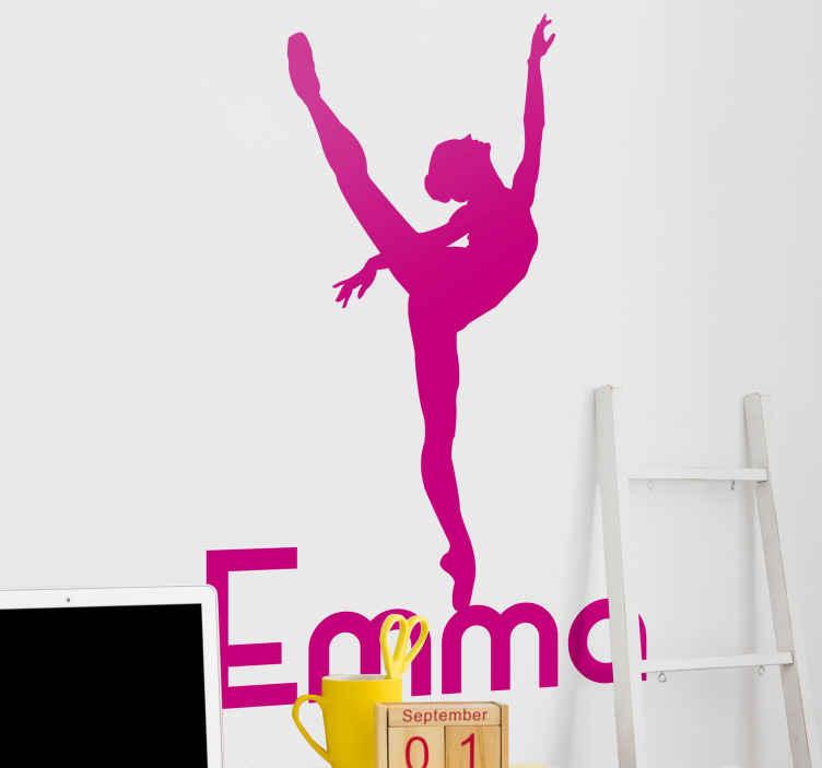 TenVinilo. Vinilo para niñas bailarina rítmica con nombre. Vinilo decorativo para niñas con bailarina con nombre personalizable para decorar la habitación de tu hija ¡Elige color y medidas!