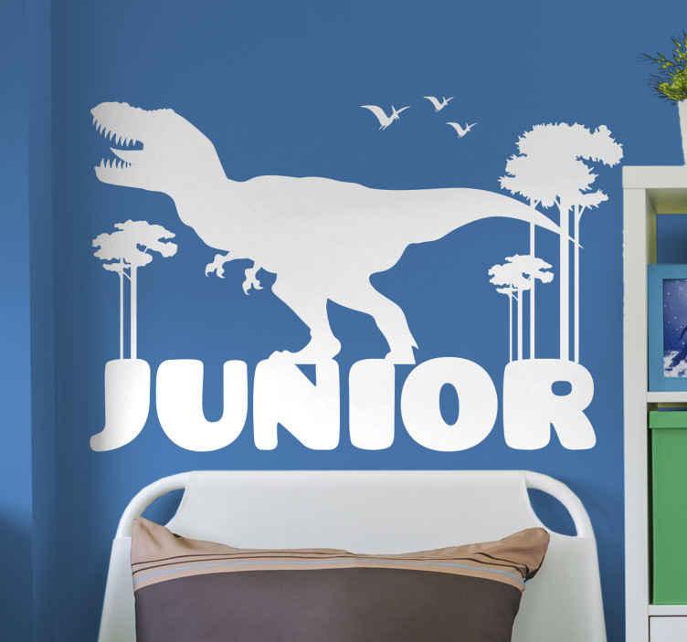Tenstickers. T-rex personligt namn dinosaurie vägg klistermärke. Fantastisk dinosaurie klistermärke design av en dinosaurie siluett omgiven av träd och fåglar. Lätt att applicera och ta bort. Hög kvalitet.