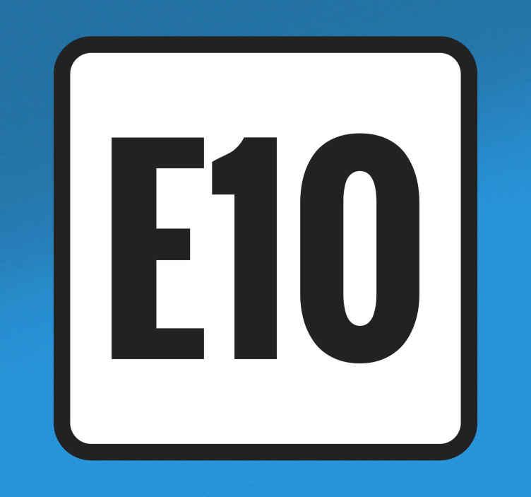TenStickers. Autostickers E10 vierkant. E10 iconische auto sticker decoratie voor auto om het mengsel van ethanol voor uw auto te illustreren. Het ontwerp is gemaakt in vierkante vorm.