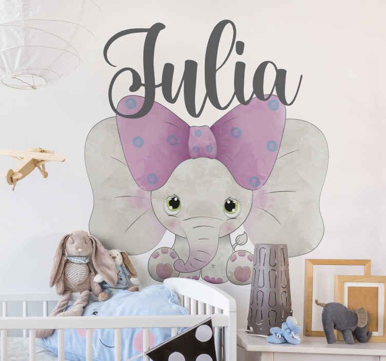 TenVinilo. Vinilo decorativo infantil elefante bebé con nombre. Decora la habitación de tu pequeño con este vinilo infantil con nombre personalizable. Diseño con elefante bebé adorable ¡Envío a domicilio!