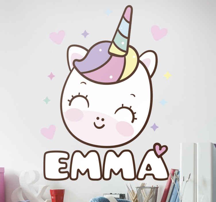 TenVinilo. Vinilo de unicornio feliz con nombre tonos pastel. Vinilo de unicornio para pared sonriente con tonos pastel y con nombre para que decores el cuarto de tu hija de forma original ¡Envío a domicilio!