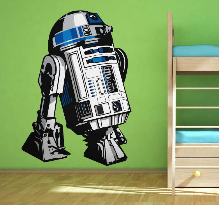 TenVinilo. Vinilo decorativo R2D2. Adhesivo en color del robot que acompaña a Luke Skywalker en todas sus aventuras. Una de las máquinas más famosas de la historia del cine.