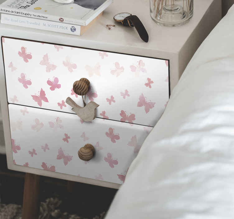 TENSTICKERS. 家具のためのピンクの蝶のデカール. すべての家具スペースに適した装飾的なピンクの蝶の家具ステッカー。それは寝室の引き出しやワードローブに適用できます。