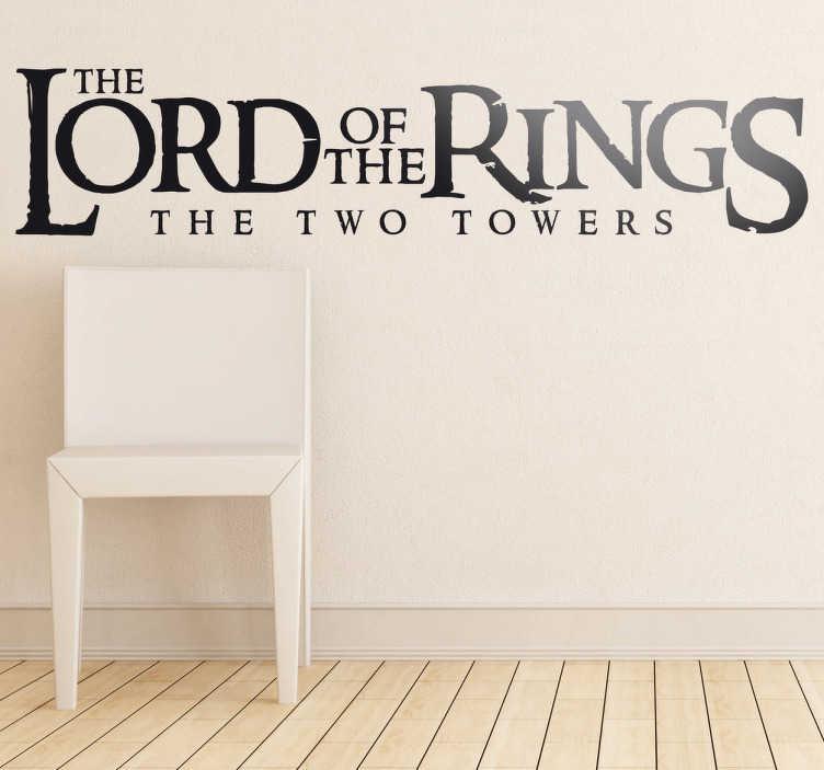 TenVinilo. Vinilo decorativo Señor Anillos Dos Torres. Adhesivo en inglés de la segunda entrega de la trilogía de Peter Jackson basada en los libros de Tolkien.