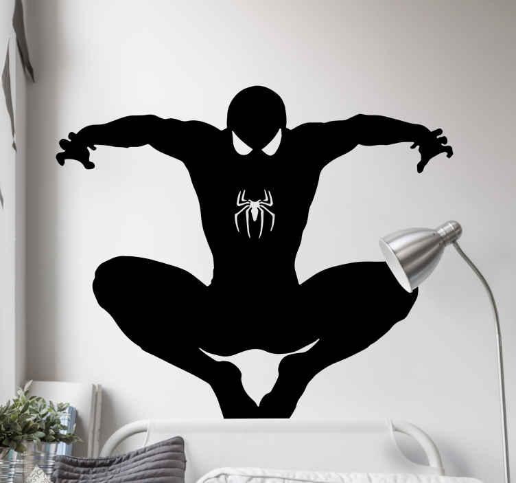 TENSTICKERS. スパイダーマンシルエットスーパーヒーローステッカー. 飛んでいるスーパーヒーローのキャラクターのこのステッカーのスリル満点の眺めであなたの子供の寝室のスペースを残してください。さまざまな色とサイズでご利用いただけます。