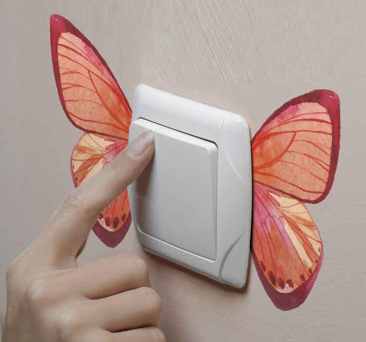 TENSTICKERS. 二色蝶光スイッチカバーステッカー. ほとんどの壁のスイッチは無地の白い色で提供されており、あなたのライトスイッチ用にこのかわいいバタフライステッカーを購入してみてください。
