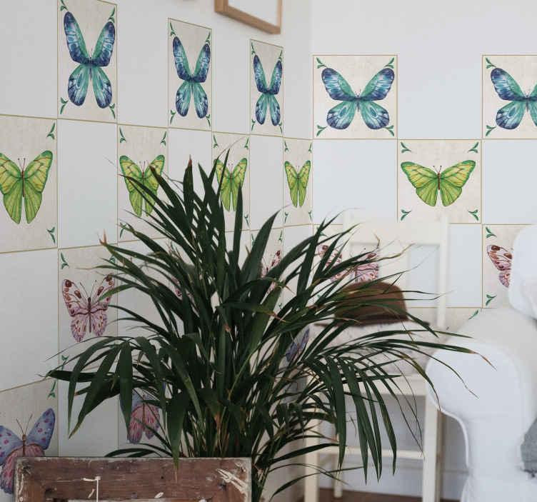 TENSTICKERS. 蝶のタイル転送. 壁をキュートでかわいい蝶が侵入したスペースのように見せることのできる、驚くほど美しい防水のカラフルな蝶のタイルステッカー。