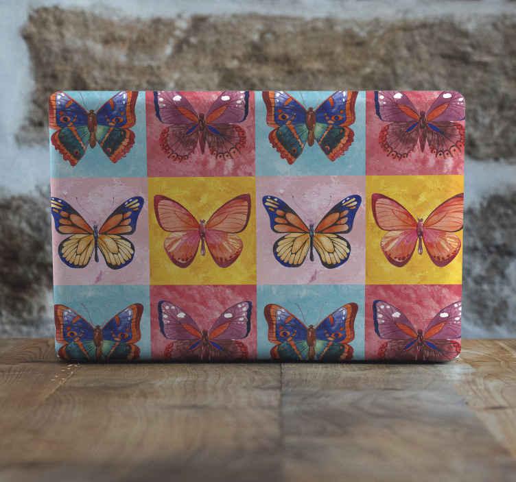 TENSTICKERS. 色とりどりの蝶のラップトップの皮膚デカール. 色とりどりの蝶のラップトップのステッカー。蝶のやわらかく優しいタッチでデバイスを美しくする素敵なデザイン。