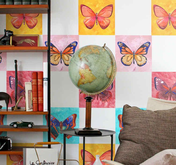 TENSTICKERS. 色とりどりの蝶のタイル転送デカール. 美しいカラフルな蝶のタイルステッカーは、バスルーム、キッチン、その他の選択したスペースを飾ります。必要なサイズで利用できます。