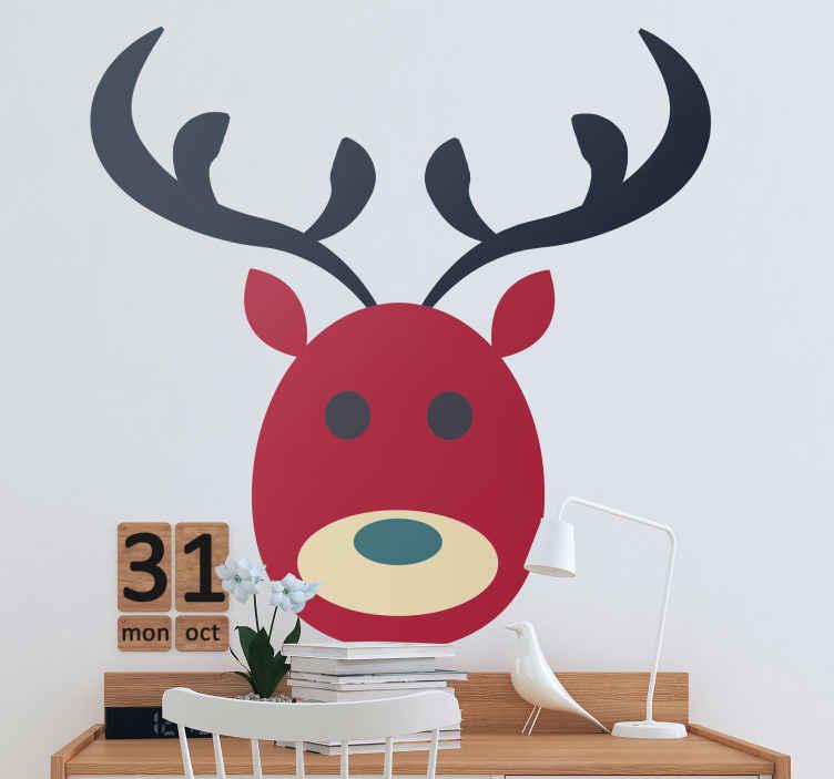 TenStickers. Kerststickers Kid's gezicht. Decoratieve rendier kerst sticker. Dit ontwerp kan worden toegepast in de kinderkamer en op elke andere ruimte naar keuze. Verkrijgbaar in elke maat.