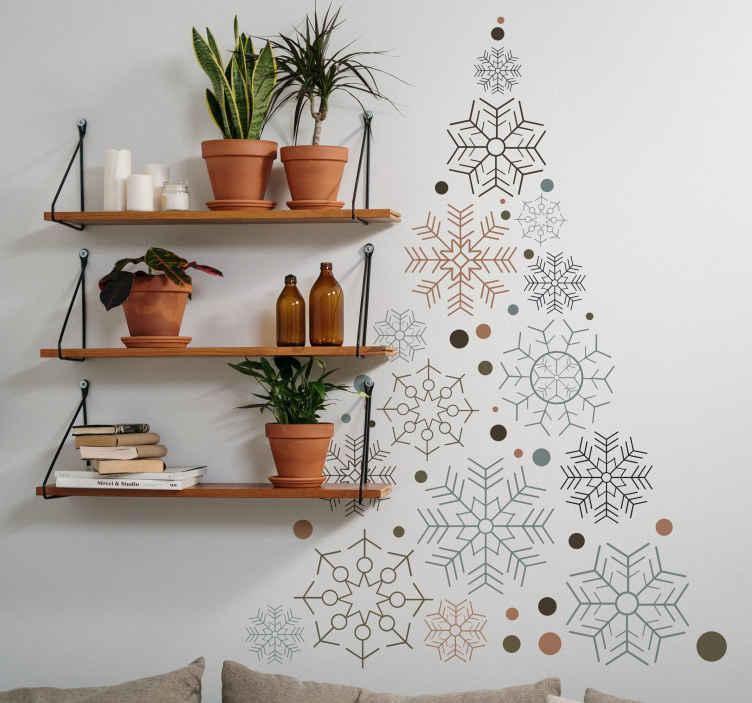 TENSTICKERS. クリスマスツリーフレーククリスマスウォールステッカー. カリスマデコレーションの一部として、このクリスマスツリーの雪片のデカールパターンで家を飾ることができます。適用が簡単で高品質。