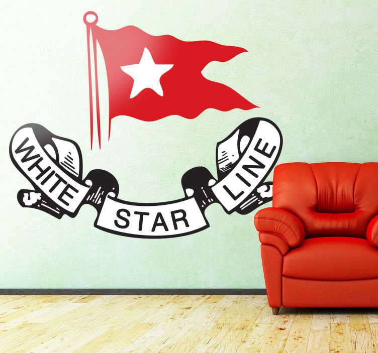 TenStickers. White Star Line Titanic Decorative Sticker. Wall logo decal of the British shipping company that owned the famous Titanic, the famous ship that inspired James Cameron in his 90s film.